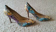 "GUESS Plasma floral snake print pumps 5.5"" heels shoes leather SZ/8M Worn Twice!"