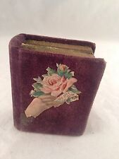 "Antique 19thC Miniature 3"" VELVET BOOK Shaped Box for Sewing Kit Needle Case"