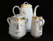 19TH C HAVILAND COFFEE TEA POT CREAMER SUGAR SET LIMOGES FRANCE TRIANGULAR ROPE