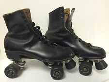 VINTAGE MENS 11 RIEDELL BLACK LEATHER ROLLER SKATES STAR PRO III SURE GRIP FRAME