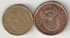 2 DIFFERENT COINS from SOUTH AFRICA - 5 & 20 CENTS (BOTH DATING 2008)