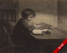 THE YOUNG SCHOLAR LITTLE BOY STUDYING CHALK PAINTING ART REAL CANVAS PRINT