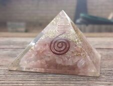 LARGE (50-55mm) ROSE QUARTZ ORGONE GEMSTONE PYRAMID LARGE PYRAMID ORGONITE