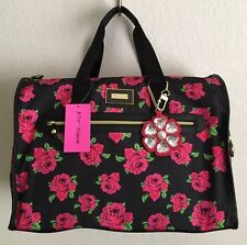 BETSEY JOHNSON FLORAL ROSE WEEKENDER TRAVEL LUGGAGE DUFFLE TOTE BAG NWT