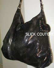Beach Bunny BEACH BAG HOBO PURSE Black SEQUINS Leather & Chain Link Strap NWT
