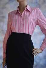 NWOT TOMMY HILFIGER Sz LPink White Stripe Button Down Blouse Shirt Career Pink