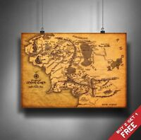 A3 THE MAP OF MIDDLE EARTH Lord Of The Rings POSTER Home Wall Art Print Decor