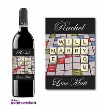 PERSONALISED SCRABBLE WILL YOU MARRY ME VALENTINES DAY WINE BOTTLE LABEL GIFT