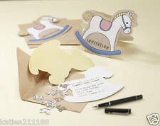 New baby shower party Rock A Bye Baby rocking horse invitations invites envelope