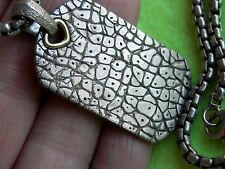 "David Yurman Sterling Silver 18K Large Rhinoceros Dog Tag Pendant 22"" Box Chain"