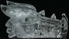 "3.86"" Quartz  Crystal Carved Crystal Dragon Skull, Crystal Healing 281g"