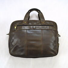 SAMSONITE Brown Leather Briefcase Messenger Work School Bag Laptop Computer L