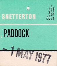 Snetterton Paddock Entry Swing Ticket  1 May 1977