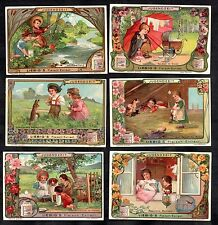 Children At Play Vintage Liebig Card Set 1904 Doll Dress Animals Pram Toys Fish