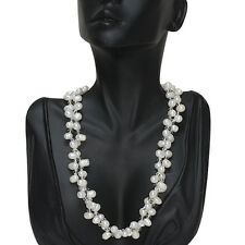 "17"" White Twist Cultured Freshwater Pearl & Crystals Necklace"