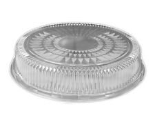 "Clear Plastic Dome Lid for 12"" Round Aluminum Foil Catering Tray 50 Pack"