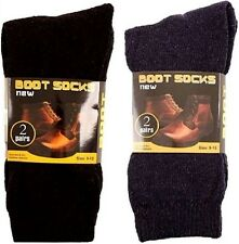 4 PAIRS MENS BOOT SOCKS CREW BLACK NAVY WARM THICK WORK HEAVY DUTY HIKING PACK A