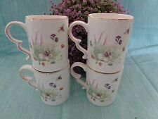 GRACE'S TEAWARE EASTER BUNNY SPRING MEADOW TEA COFFEE CUPS MUGS GOLD TRIM SET 4