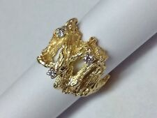 ABSTRACT NUGGET STYLE DIAMONDS IN 14K YELLOW GOLD RING SIZE 4.25