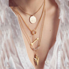 High Gloss Gold Plated Angel wings-Arrow-Sun Four Layer Pendant Necklace Chain