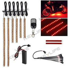 6pc Red LED Flexible Strip Kit Motorcycle Engine Lights 114LED w Remote 12V