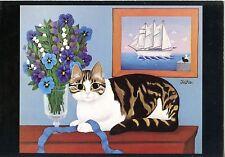 POSTCARD / CARTE POSTALE FANTAISIE CHAT CAT ILLUSTRATEUR KATHIA BERGER 1981