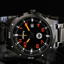 INFANTRY Mens Quartz Wrist Watch Date Police Style Black Sport Stainless Steel