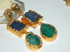 Gold Edged Druzy Agate Slice Earring, Natural Druzy Earring, Gold Electroplated