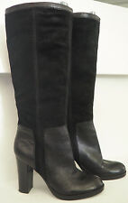 """NINE WEST Emilio Black Leather & Suede Tall Pull on Boots with 4"""" heel - Sz 8.5"""