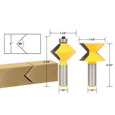"2Pc Edge Banding Router Bit Set V-Design Tongue & Groove - 1/2"" Shank"