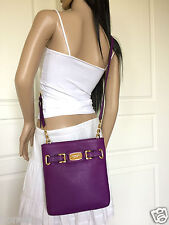 NWT Micheal Kors Hamilton Purple Large Leather Shoulder Crossbody Bag Purse