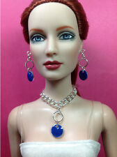 "T208 Tonner Tyler Ellowyne Imperium Park 16"" Doll Jewelry - silver & blue"
