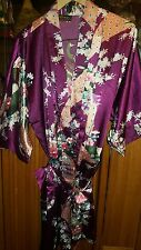 OLD SHANGHAI LADIES ROBE PUPLE WITH FLOWERS SHORT WITH BELT
