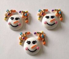3 x Resin Christmas Flatback Resins Embellishments Cabochon