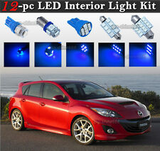12-pc Blue LED Car Interior Light Bulbs Package Kit Fit 2010-2013 Mazda speed 3
