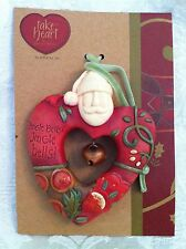 Christmas Ornament Santa with Bell Karen Hahn Take Heart Enesco New Old Stock