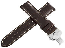 Aqua Master Mens 22mm Brown Leather Watch Band Strap W/ Stainless Steel Buckle