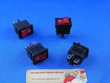 Einbau Wippschalter 19 x 13 mm, 2 polig (4Pins), rote Wippe beleuchtet, schwarz