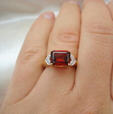 3.00ct Mozambique Red Ganet & Zircon Octagon Gold Ring