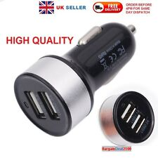 High Output Dual USB Ports Car Charger with Round Base -Black+Silver - UK Seller