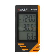 VC330 Digital LCD Indoor Thermometer Hygrometer Clock Temperature Humidity Meter