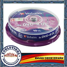 TARRINA 10 DVD+R DL DOBLE CAPA VERBATIM 8.5GB 8X ORIGINALES DUAL LAYER