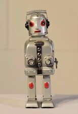 Mr Robot, The Mechanical Brain. Wind-up tin toy. 1950's Alps Japan