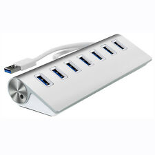 New Super Speed Aluminum 7 Port USB 3.0 HUB for PC Windows Mac OS Linux Silver
