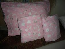 POTTERY BARN KIDS SNOW BLOSSOM FLANNEL (3PC SET) TWIN SHEET PINK GREEN FLORAL