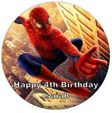 "SPIDERMAN personalizzati CAKE TOPPER 7,5 ""wafer commestibile carta festa di compleanno"