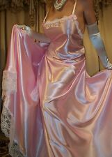 Vtg Fair Pink Long Lace Slip Full Sweep Satin Nightgown Lingerie L XL