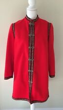 "VINTAGE WOMEN'S Red Nordic WOOL Metal Clasps COAT EMBROIDERED, Large, 38"" Bust"