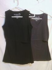 MOMZELLE LOT OF TWO MATERNITY/BREASTFEEDING TANK TOPS, BLACK AND GRAY, XS