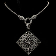 Sterling Silver 925 Genuine Marcasite Encrusted Large Designer Necklace 23.5 In